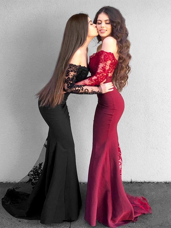 Mermaid Long Sleeves Off-the-Shoulder Sweep/Brush Train Applique Satin Dresses
