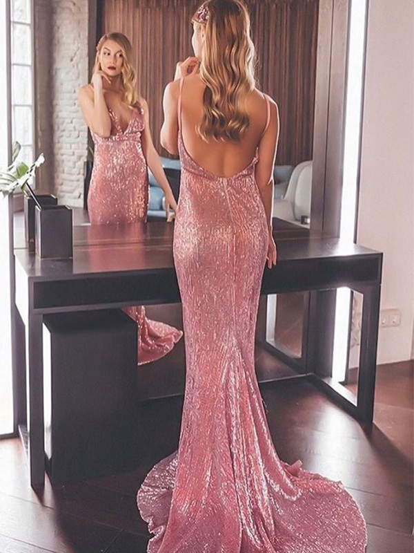 Mermaid Sleeveless V-neck Sweep/Brush Train Ruffles Sequins Dresses