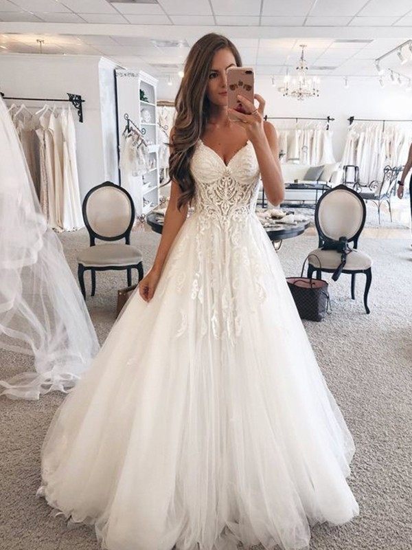 A-Line Sweetheart Sleeveless Floor-Length Lace Tulle Wedding Dresses