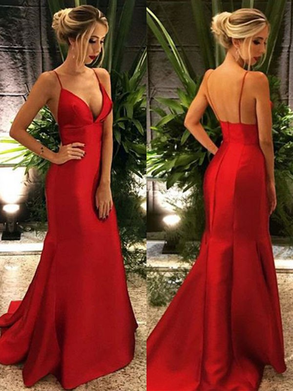 Mermaid Spaghetti Straps Sleeveless Sweep/Brush Train Ruffles Satin Dresses