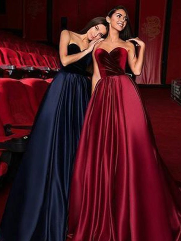 A-Line Sleeveless Sweetheart Court Train Ruffles Satin Dresses
