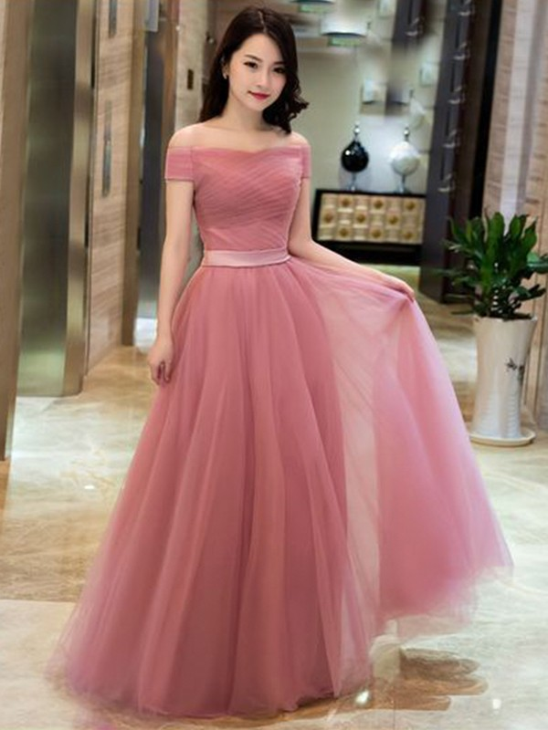 A-Line Tulle Ruffles Off-the-Shoulder Sleeveless Floor-Length Dresses