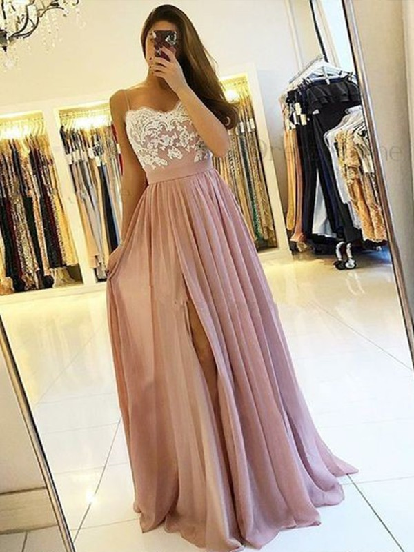 A-Line Sleeveless Spaghetti Straps Floor-Length Applique Chiffon Dresses