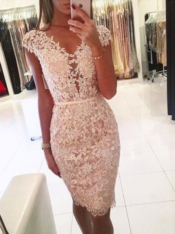 Sheath/Column Lace V-neck Knee-Length Dresses
