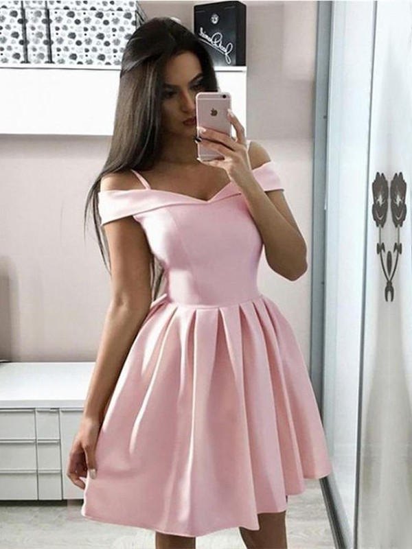 A-Line/Princess Satin Ruffles Off-the-Shoulder Short/Mini Dresses