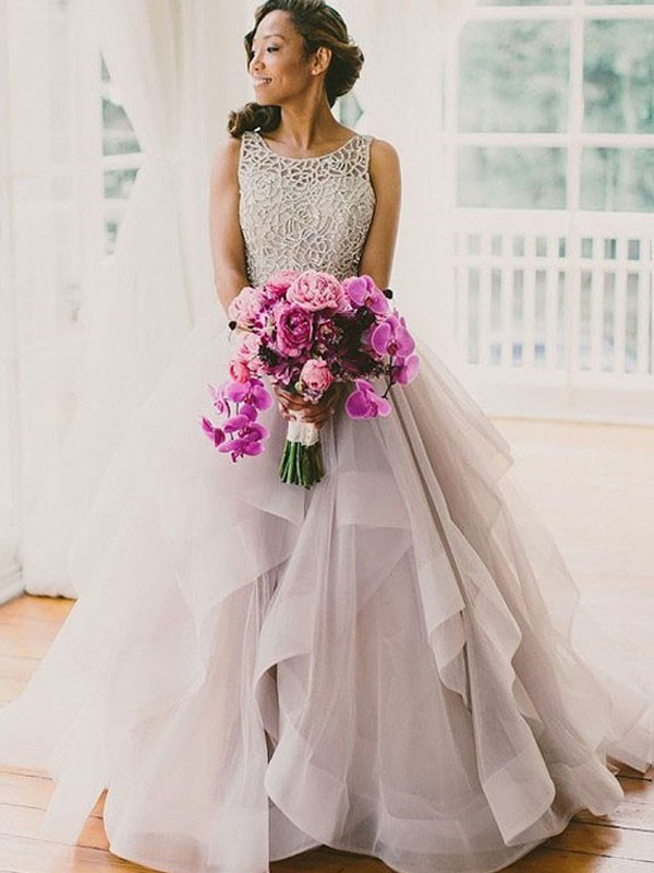 Ball Gown Sleeveless Scoop Beading Floor-Length Organza Wedding Dresses