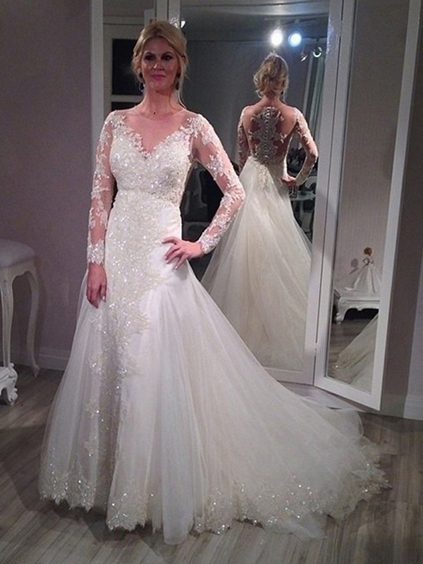 A-Line/Princess V-neck Sweep/Brush Train Long Sleeves Sequin Tulle Wedding Dresses
