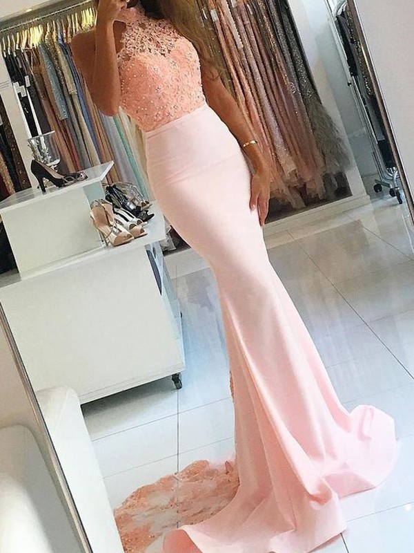 Trumpet/Mermaid Sleeveless High Neck Lace Sweep/Brush Train Satin Dresses