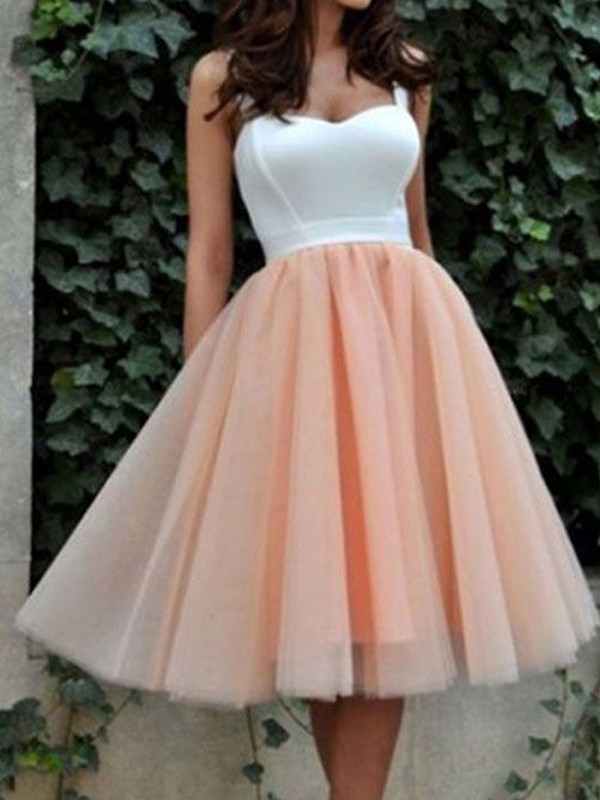A-Line/Princess Sleeveless Sweetheart Tulle Short/Mini Dresses