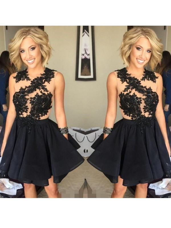 A-Line/Princess Sleeveless Scoop Lace Chiffon Short/Mini Dresses
