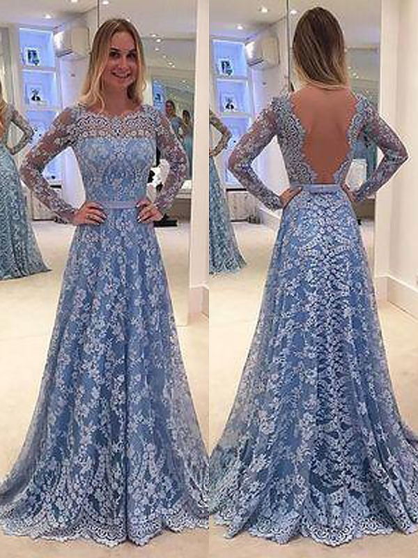 A-Line Long Sleeves Lace Floor-Length Bateau Ruffles Dresses