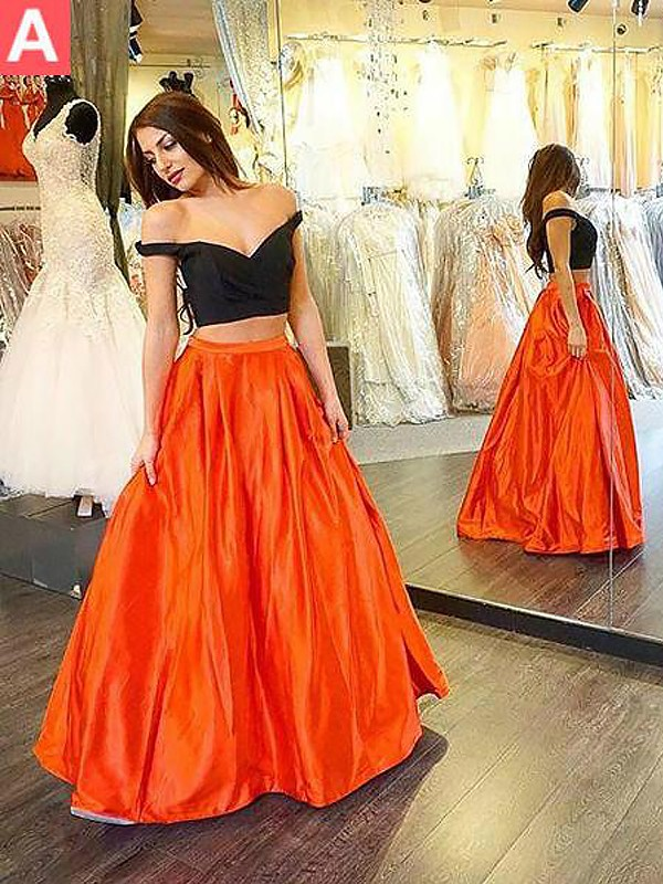 A-Line Off-the-Shoulder Sleeveless Taffeta Floor-Length Ruffles Two Piece Dresses