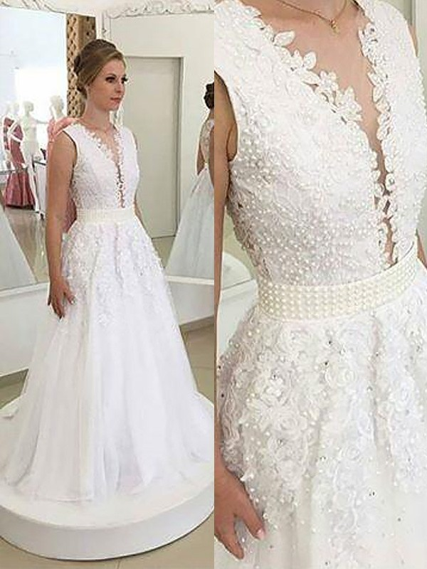 A-Line V-neck Applique Sleeveless Sweep/Brush Train Tulle Wedding Dresses