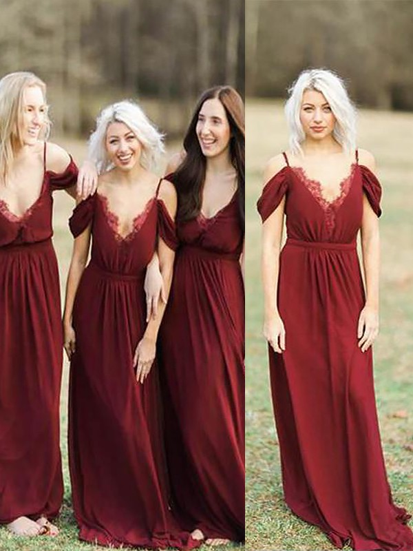 A-Line Spaghetti Straps Sleeveless Floor-Length Lace Chiffon Bridesmaid Dresses