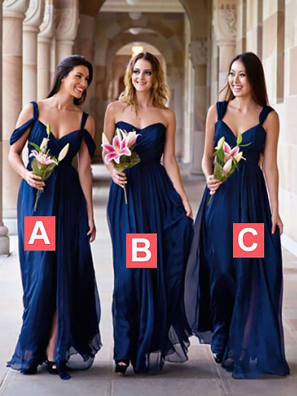 A-Line Chiffon Floor-Length Sleeveless Bridesmaid Dresses