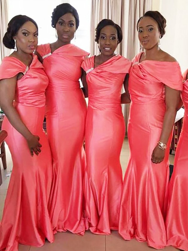 Mermaid Off-the-Shoulder Floor-Length Sleeveless Satin Bridesmaid Dresses
