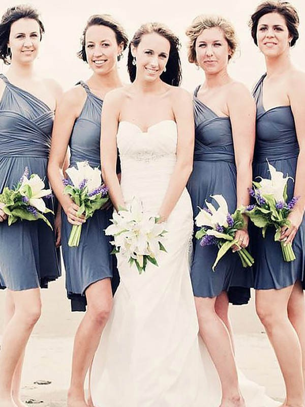 A-Line Chiffon One-Shoulder Sleeveless Short/Mini Bridesmaid Dresses