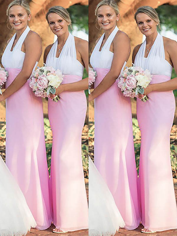 Sheath Halter Chiffon Sleeveless Floor-Length Bridesmaid Dresses
