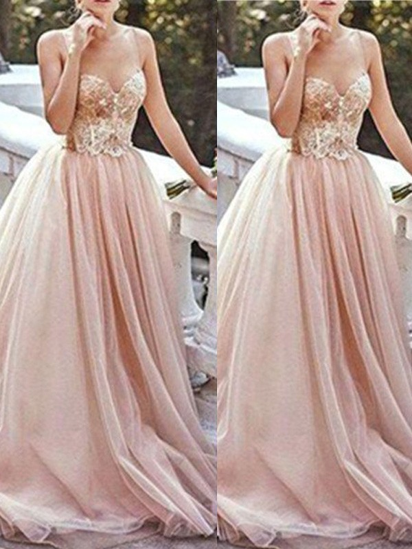 A-Line/Princess Sweetheart Sleeveless Sweep/Brush Train Beading Tulle Dresses