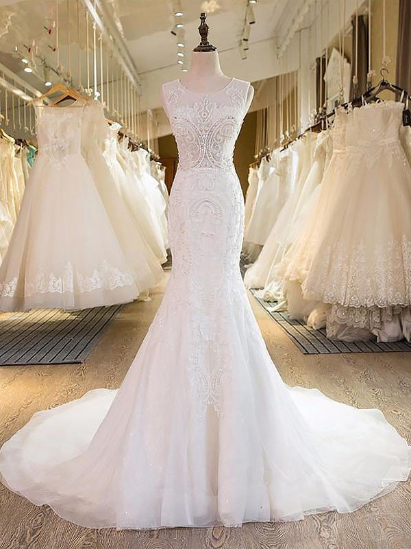 Mermaid Scoop Tulle Sleeveless Sweep/Brush Train Wedding Dresses