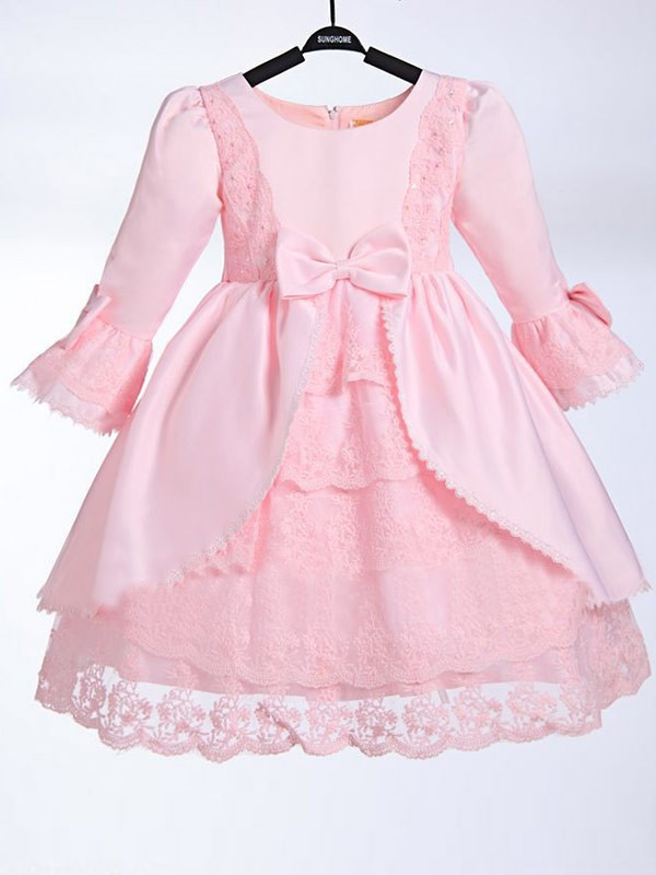 A-line Scoop 3/4 Sleeves Bowknot Tea-length Satin Flower Girl Dress