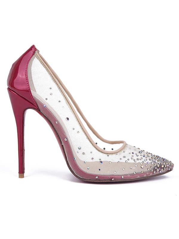 Women's Patent Leather Closed Toe with Hot Drilling Stiletto Heel High Heels