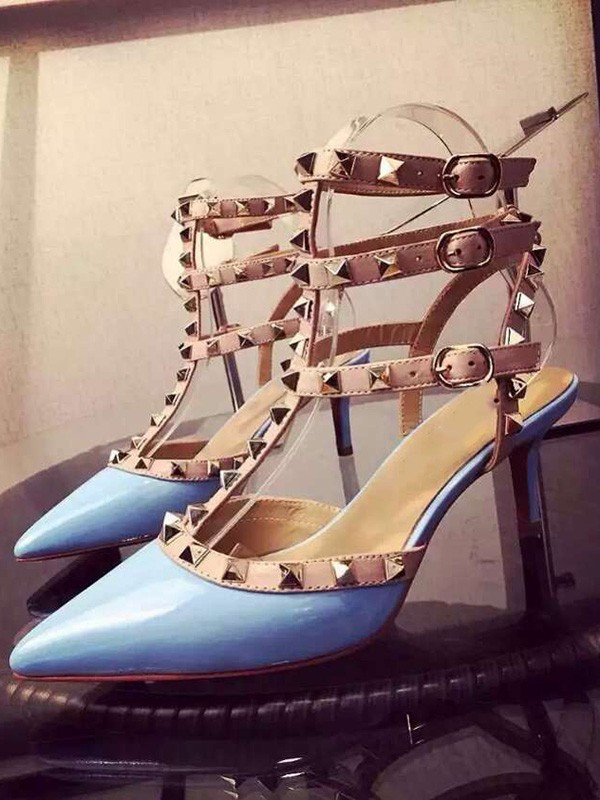 Women's Patent Leather Closed Toe Stiletto Heel With Rivet Party Sandals Shoes