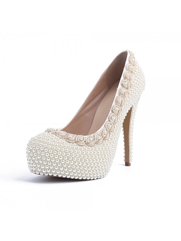 Women's Patent Leather Closed Toe Stiletto Heel Platform With Pearl White Wedding Shoes