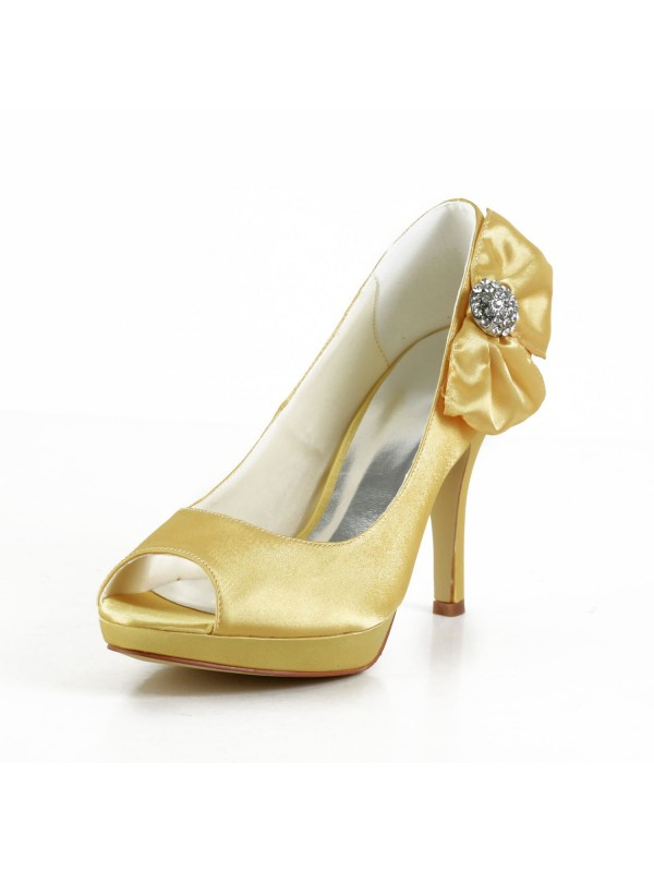 Women's Satin Stiletto Heel Peep Toe Platform Gold Wedding Shoes With Bowknot