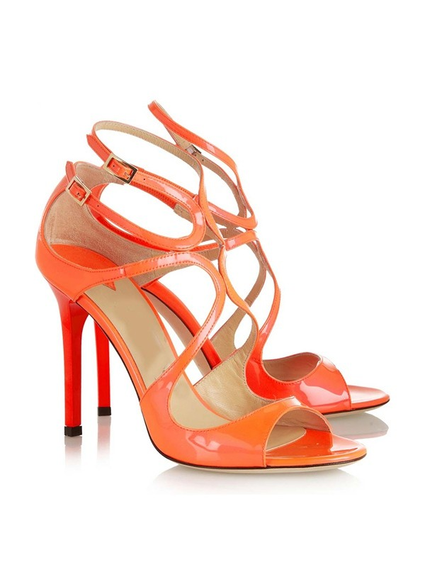 Women's Peep Toe Patent Leather Stiletto Heel With Buckle Sandals Shoes
