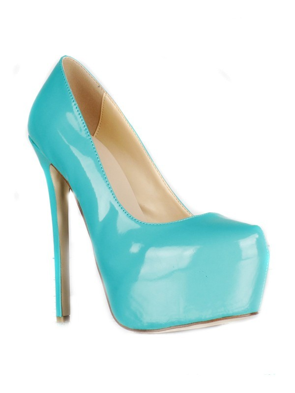 Women's Patent Leather Stiletto Heel Closed Toe Platform High Heels