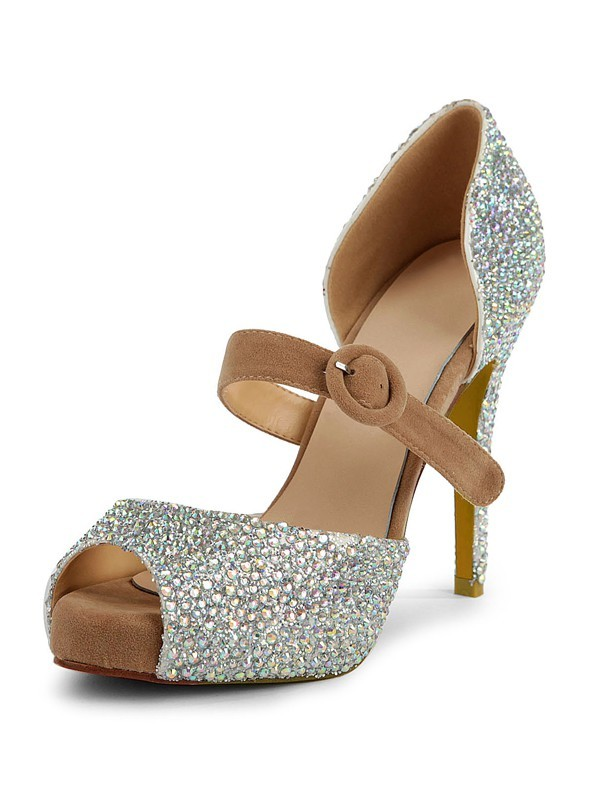 Women's Suede Peep Toe Stiletto Heel Platform With Rhinestone Platforms Shoes