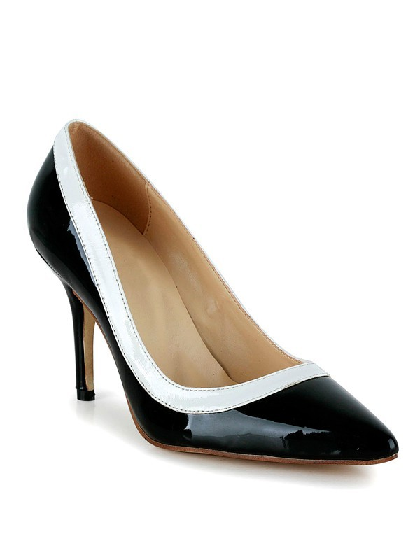 Women's Cone Heel Closed Toe Patent Leather Office High Heels