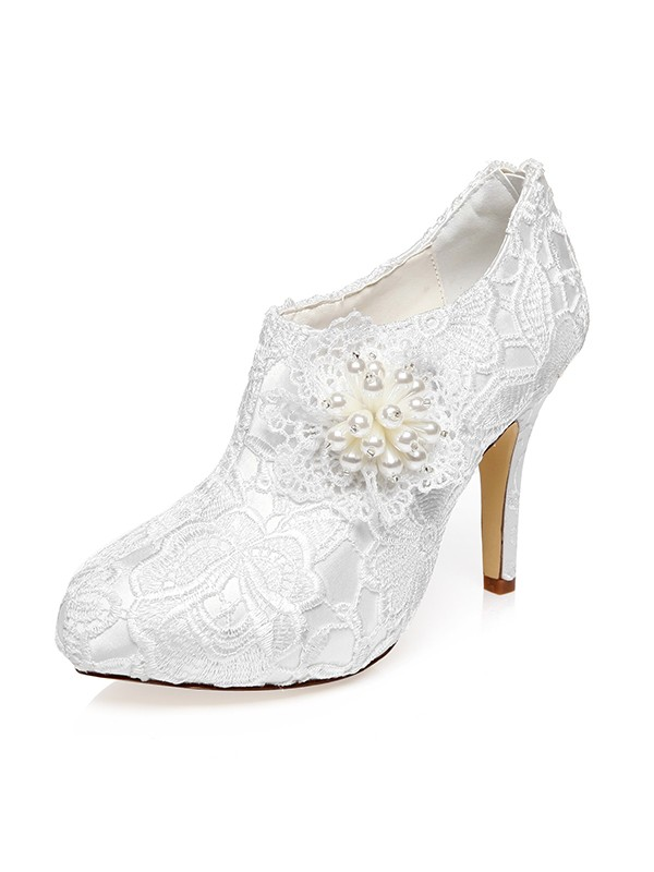 Women's Satin Closed Toe Stiletto Heel Flower Wedding Shoes