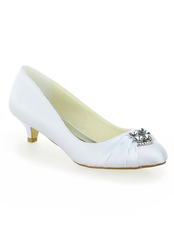 Women's Satin Lace Platform Closed Toe With Bowknot Kitten Heel White Wedding Shoes