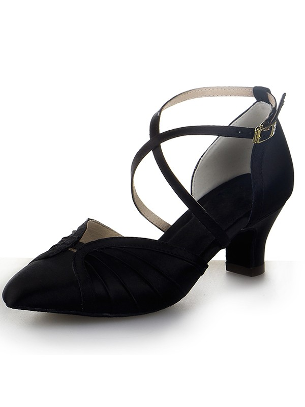 Women's Closed Toe Satin Chunky Heel Buckle Dance Shoes