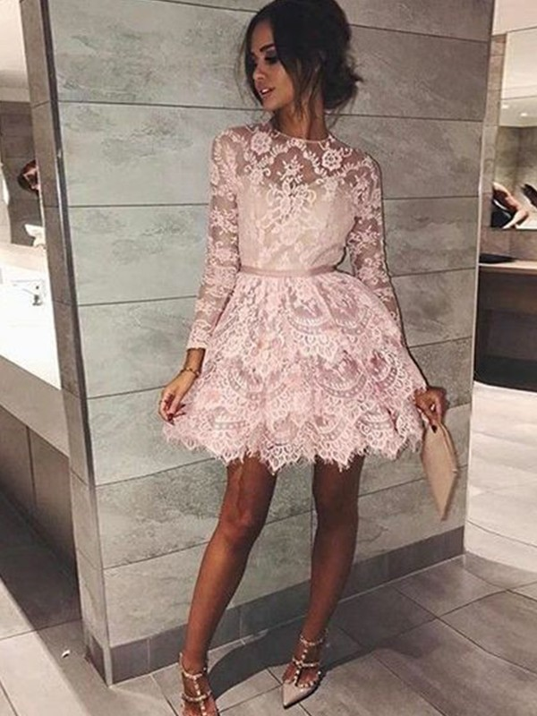 A-Line Bateau Long Sleeves Lace Short/Mini Dress