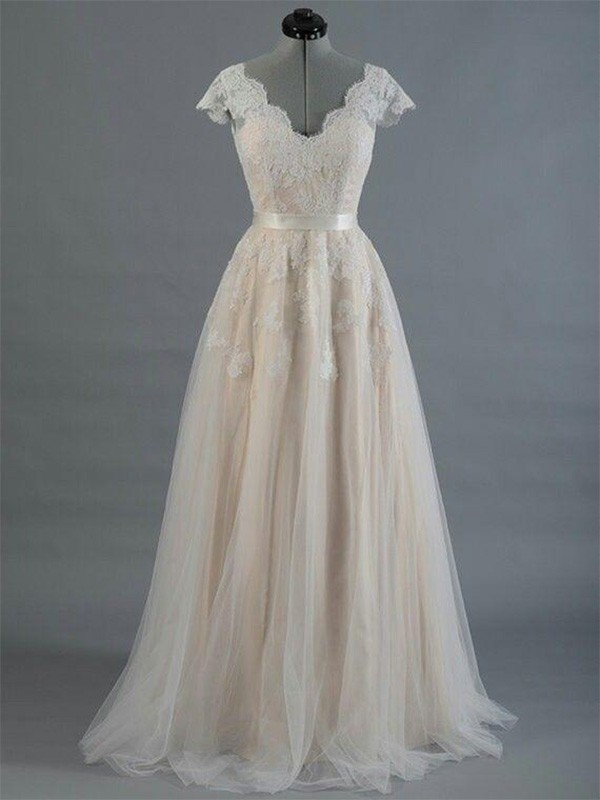A-Line V-neck Sleeveless Floor-Length Lace Wedding Dress