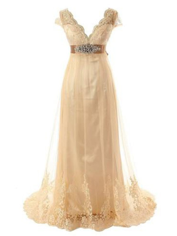 A-Line Short Sleeves V-neck Sweep/Brush Train Lace Tulle Wedding Dress