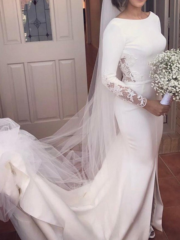 Mermaid Long Sleeves Scoop Court Train Lace Satin Wedding Dress