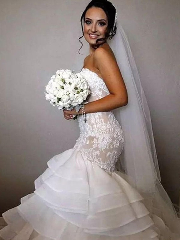 Mermaid Sleeveless Sweetheart Chapel Train Lace Organza Wedding Dress