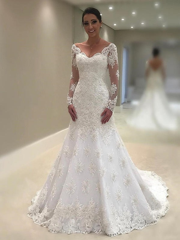 Mermaid Long Sleeves V-neck Court Train Lace Wedding Dress