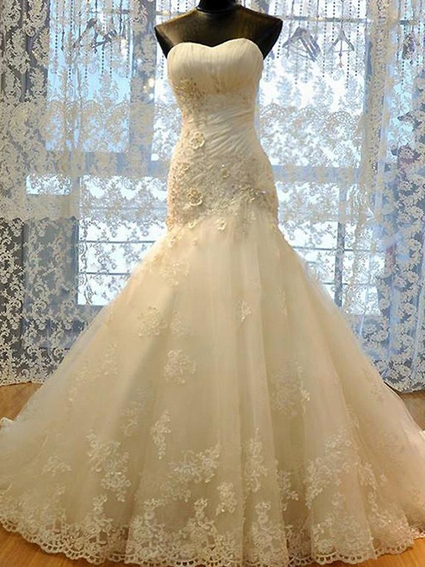 Mermaid Sweetheart Tulle Sleeveless Court Train Wedding Dress