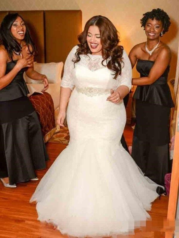 Mermaid Lace Tulle Off-the-Shoulder 1/2 Sleeves Sweep/Brush Train Wedding Dress