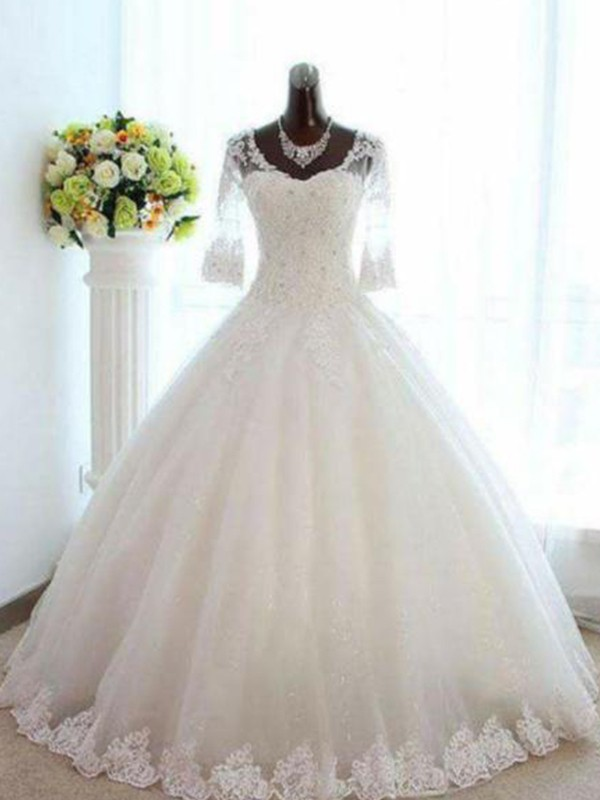 Ball Gown V-neck Tulle 3/4 Sleeves Bateau Floor-Length Wedding Dress