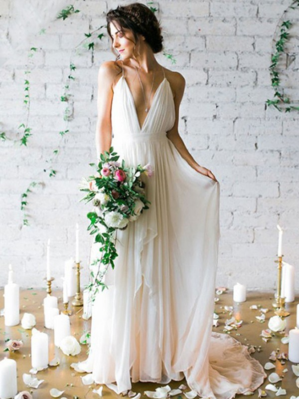 A-Line Chiffon Sleeveless Spaghetti Straps Sweep/Brush Train Wedding Dress