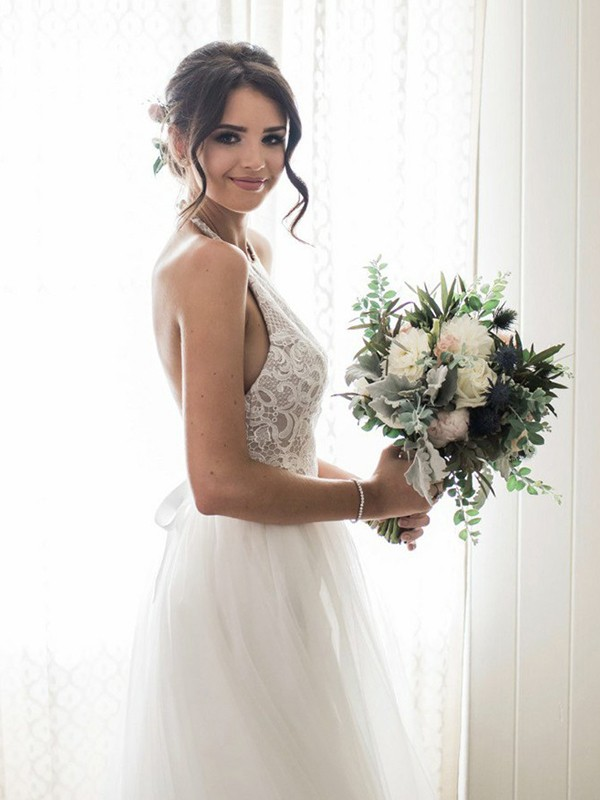 A-Line Lace Tulle Sleeveless Halter Floor-Length Wedding Dress