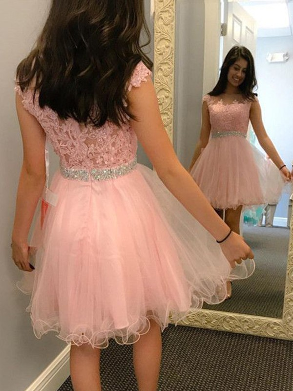 A-Line Bateau Tulle Short Dress
