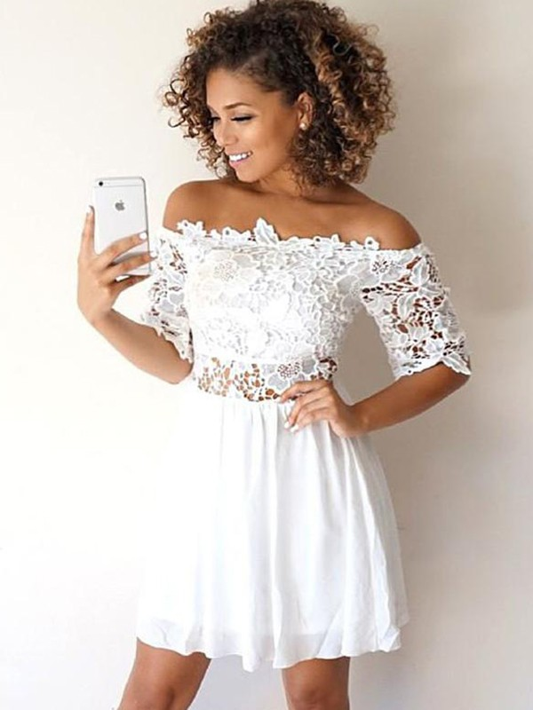 A-Line Chiffon Off-the-Shoulder Short Dress