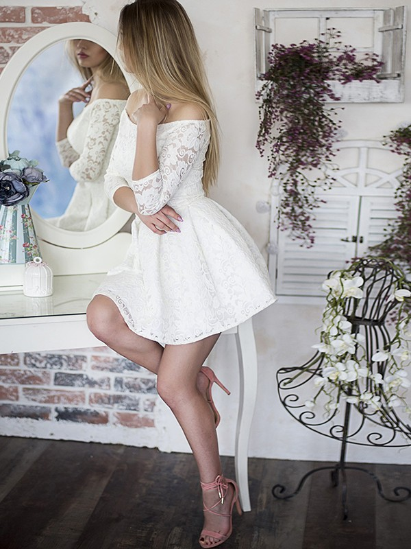A-Line Off-the-Shoulder Lace 3/4 Sleeves Short Dress